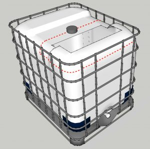 IBC tote or pallet tank showing potential cutaway sections